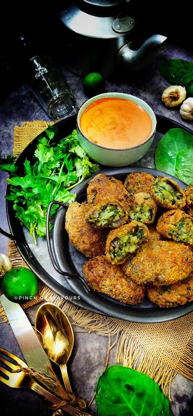 Vegan Spanish Spinach Croquettes - Air Fried