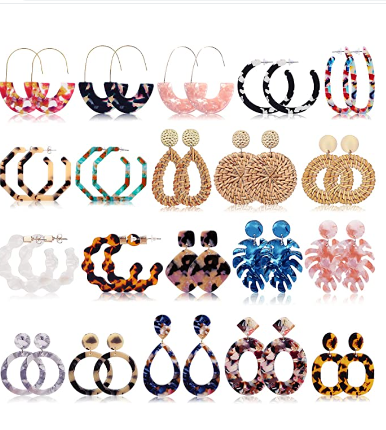 FIFATA 20 Pairs Rattan Drop Dangle Earrings Bohemian Statement Earrings for Women Girls