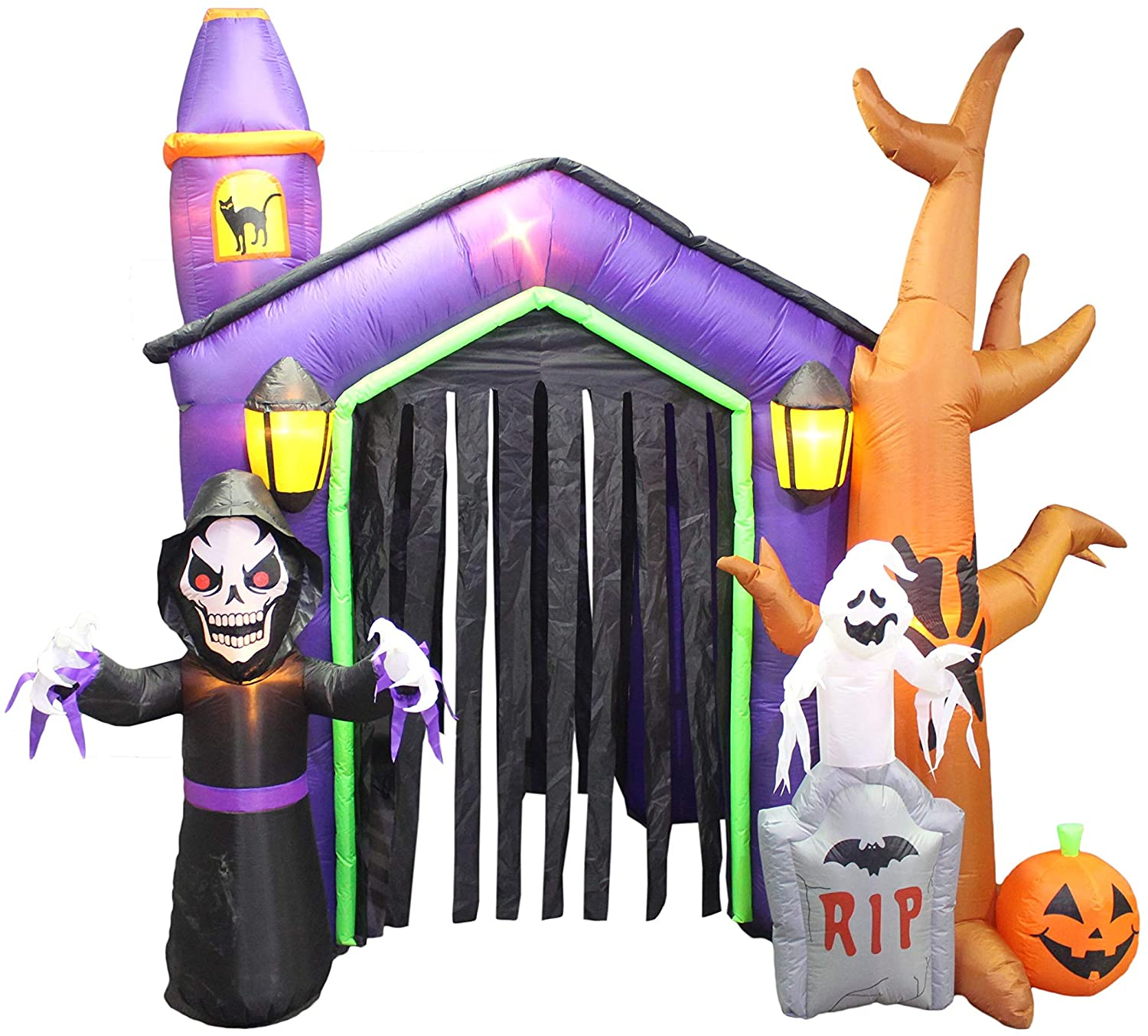 8.5 Foot Halloween Inflatable Haunted House Castle with Skeleton, Ghost, Tree and Pumpkin Lights Decor Outdoor