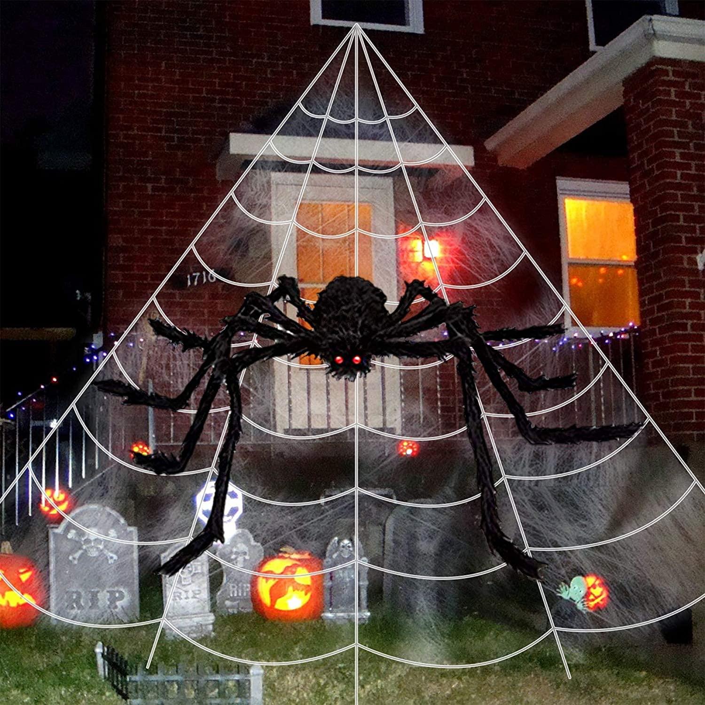 ChicFunhood Halloween Giant Spider Web 23 X 18 Feet with Super Stretch Cobweb Set
